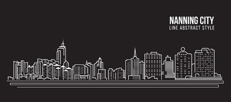 Cityscape Building Line art Vector Illustration design - Nanning city