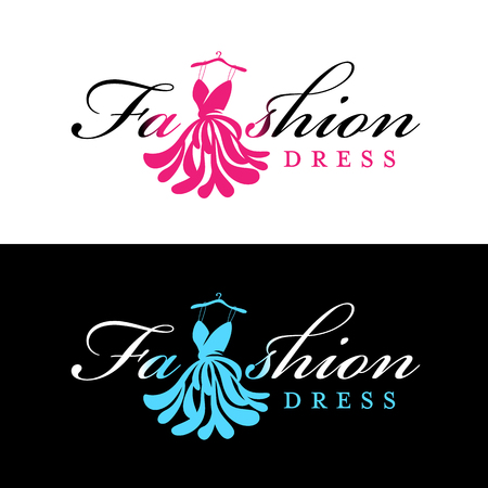 Pink and blue Fashion dress logo for fashion shop and business vector design