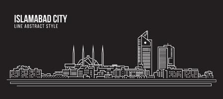 islamabad: Cityscape Building Line art Vector Illustration design - Islamabad city Illustration