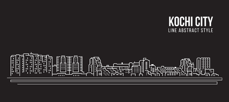 Cityscape Building Line art Vector Illustration design - Kochi city Illustration