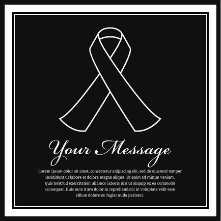 obituary: Funeral card -White ribbon line sign and white frame vector design