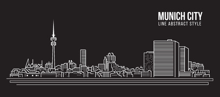 Cityscape Building Line art Vector Illustration design - Munich city