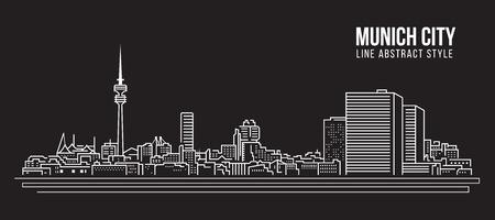 Cityscape Building Line art Vector Illustration design - Munich city