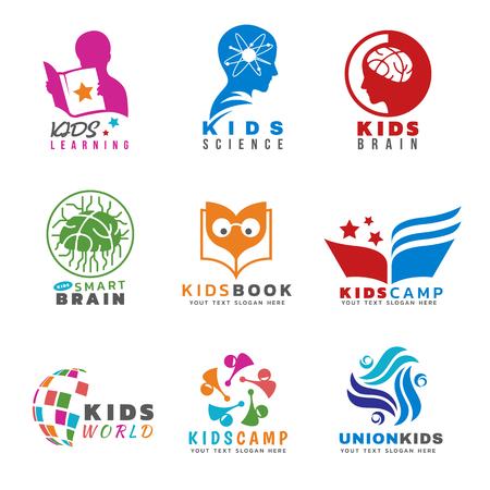 Niños para las actividades y el aprendizaje de vector de logotipo conjunto de diseño Logos
