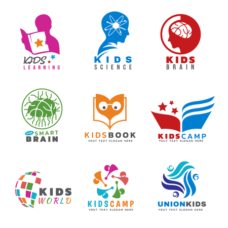 Kids for Activities and learning logo vector set design Illustration
