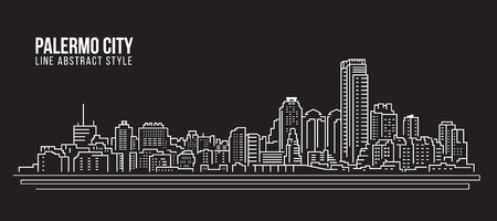 Cityscape Building Line art Vector Illustration design - Palermo city