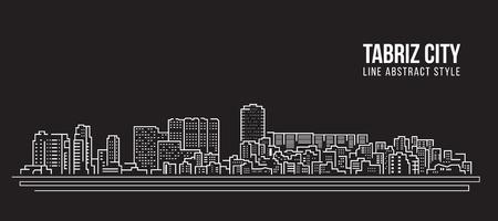 도시 건물 라인 아트 벡터 일러스트 레이 션 디자인 -Tabriz 도시