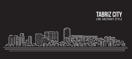 Cityscape Building Line art Vector Illustration design - Tabriz city