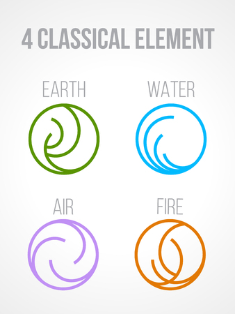 Nature 4 Classical elements in circle line border abstract icon sign. Water, Fire, Earth, Air. vector design