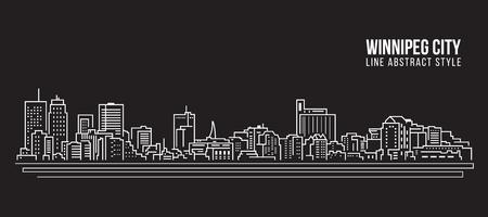 Cityscape Building Line art Vector Illustration design - Winnipeg city Illustration