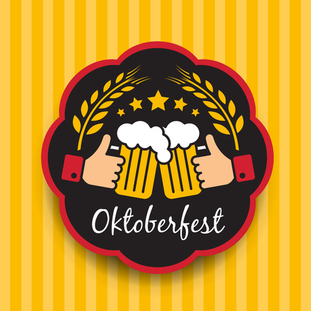 Oktoberfest with hand hold Clink glasses sign and Balley rice in circle frame on yellow vertical  background vector design Illustration