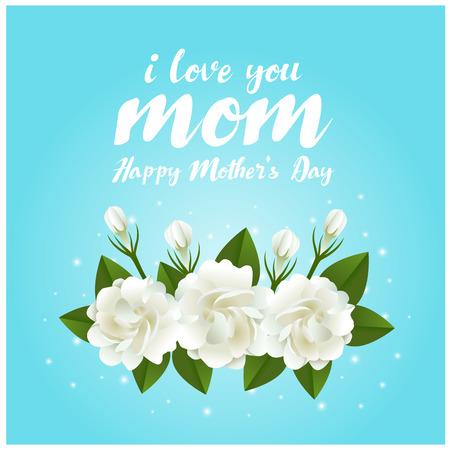 amo el texto del día de la madre de mamá y la flor del jazmín en diseño del vector del fondo azul