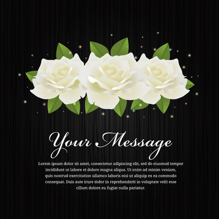 White roses and leaf on black wood background vector design