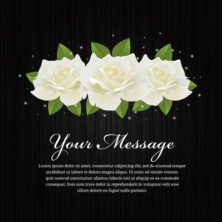 White roses and leaf on black wood background vector design