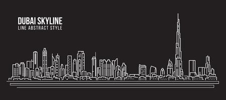 都市の景観建物ライン アート ベクトル イラスト デザイン - ドバイのスカイライン