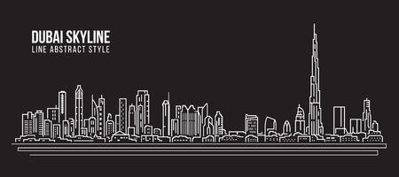 Cityscape Building Line art Vector Illustration design - Dubai skyline Vectores
