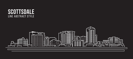 Cityscape Building Line art Vector Illustration design - Scottsdale city. 向量圖像