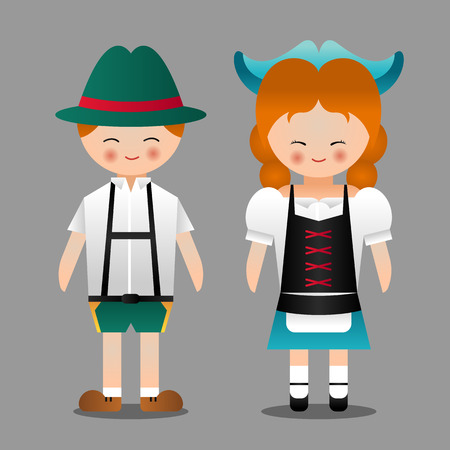 lederhosen: German boy and girl with national costume character vector design