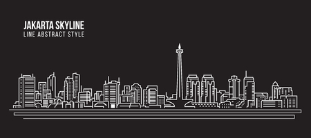 Cityscape Building Line art Vector Illustration design - Jakarta city skyline