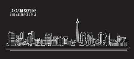 Cityscape illustratie van de kunst het Vectorillustratieontwerp - de stadshorizon van Jakarta