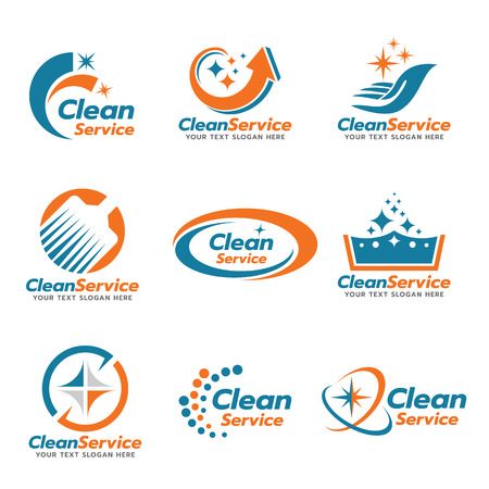 Orange and blue Clean service emblem vector set design