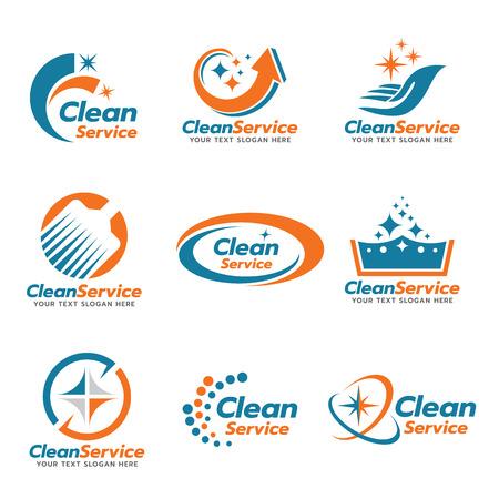 Orange and blue Clean service emblem vector set design