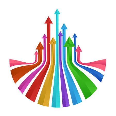 Colorful up arrows prism vector abstract design Illustration
