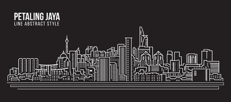 都市の景観建物ライン アート ベクトル イラスト デザイン - ペタリン ジャヤ市