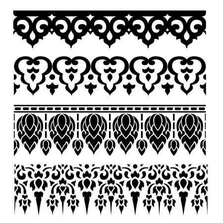 lanna: Line border pattern Asian traditional art Design Vector, Thai traditional design  (Lai Thai pattern)