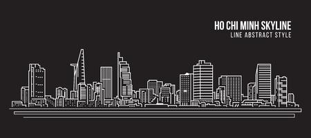 Cityscape Building Line art Vector Illustration design - Ho Chi Minh city