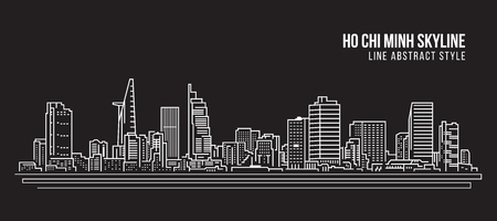 Cityscape Building Line art Vector Illustration design - Ho Chi Minh city Stock fotó - 84934740