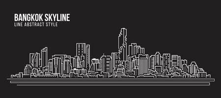 都市景観構築ラインアートベクターイラストデザイン-バンコクシティスカイライン