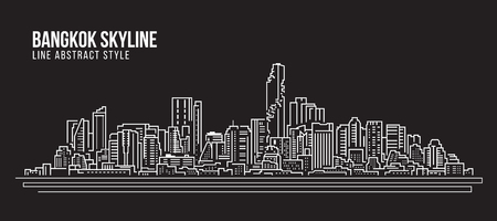 도시 건물 라인 아트 벡터 일러스트 레이 션 디자인 - 방콕 도시의 스카이 라인