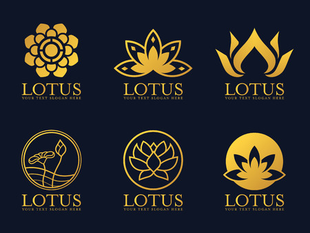 Gold lotus logo sign vector set design.