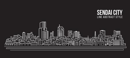 Cityscape Building Line art Vector Illustration design - Sendai city.