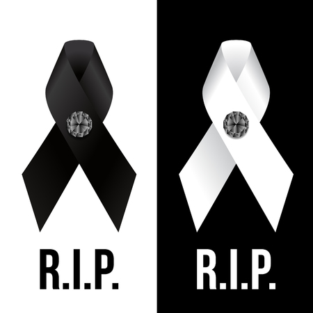 Black and white ribbon sign and diamond Button and R.I.P. text vector design Illustration