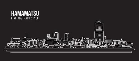 Cityscape Building Line art Vector Illustration design - Hamamatsu city