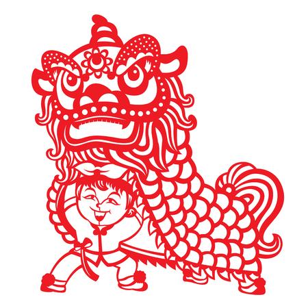 Het rode document sneed de dans van de porseleineleeuw door Chinees vector de kunstontwerp van de jonge geitjesjongen