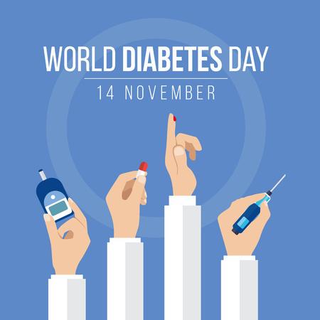 Conocimiento del Día Mundial de la Diabetes con las manos de celebrar el medidor de medidas para el nivel de azúcar en la sangre mano sostenga la droga y gotas de sangre en el círculo de fondo azul de diseño de vectores Ilustración de vector