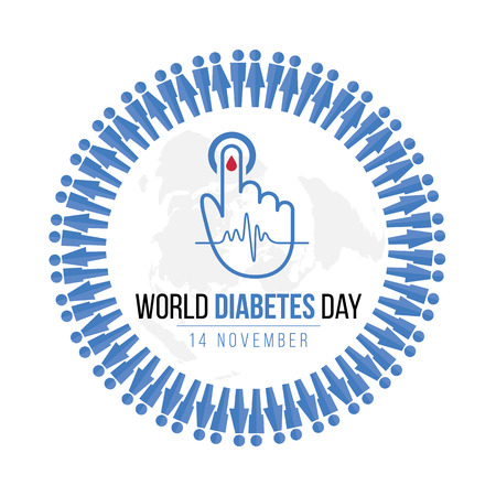 Wereld Diabetes Dag bewustzijn met blauwe Menselijke pictogram cirkel en Bloed laten vallen bij de hand voor bloedsuikerspiegel en Golf puls teken op kaart wereld vector ontwerp Stock Illustratie