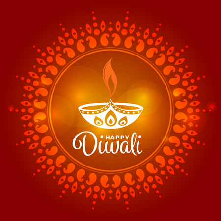 Happy Diwali with Diwali lamp sign in circle india art background vector design