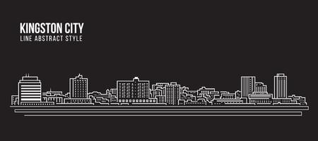 Cityscape Building Line art Vector Illustration design - Kingston city (jamaica) Ilustração
