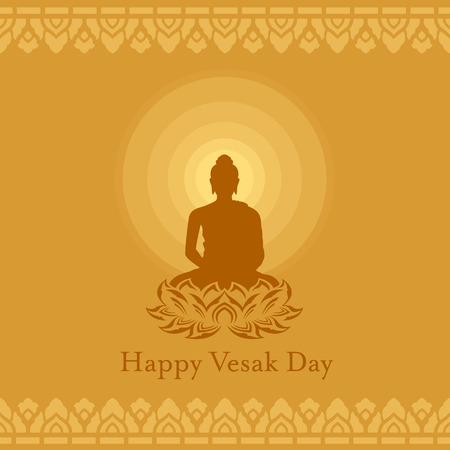 Happy Vesak day with Buddha lotus flower sign and Radius of light on yellow brown background art vector design Vettoriali