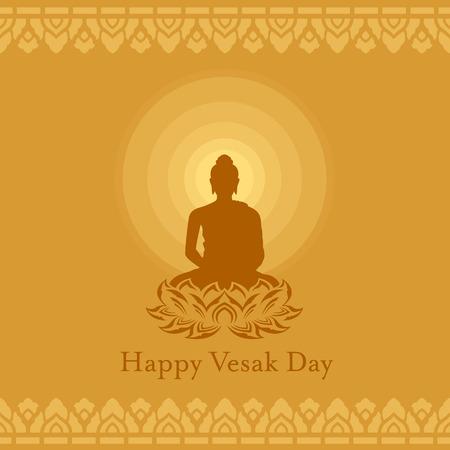 Glücklicher Vesak-Tag mit Buddha-Lotosblumenzeichen und Radius des Lichtes auf gelbem braunem Hintergrundkunst-Vektordesign Vektorgrafik