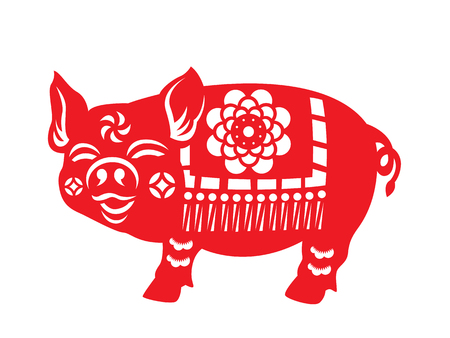 Red paper cut pig zodiac sign isolate on white background vector design Vettoriali