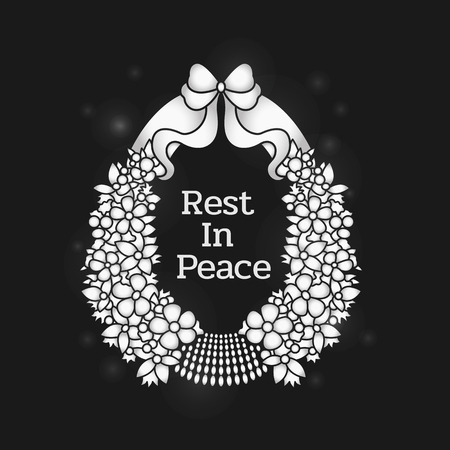 Funeral banner with Rest in peace text in flowers wreath on black background vector design