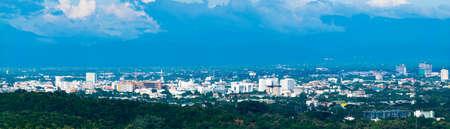 Panorama Skyline Cityscape Building Chiangmai city , thailand Stock Photo