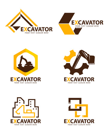 黄色と茶色のショベルロゴベクトルセットデザイン