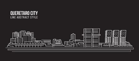 Allineamento dei fabbricati di paesaggio urbano progettazione dell'illustrazione di vettore di arte - città di Queretaro Archivio Fotografico - 87847737
