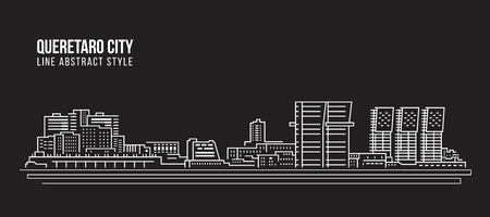 Cityscape Building Line art Vector Illustration design - Queretaro city Çizim